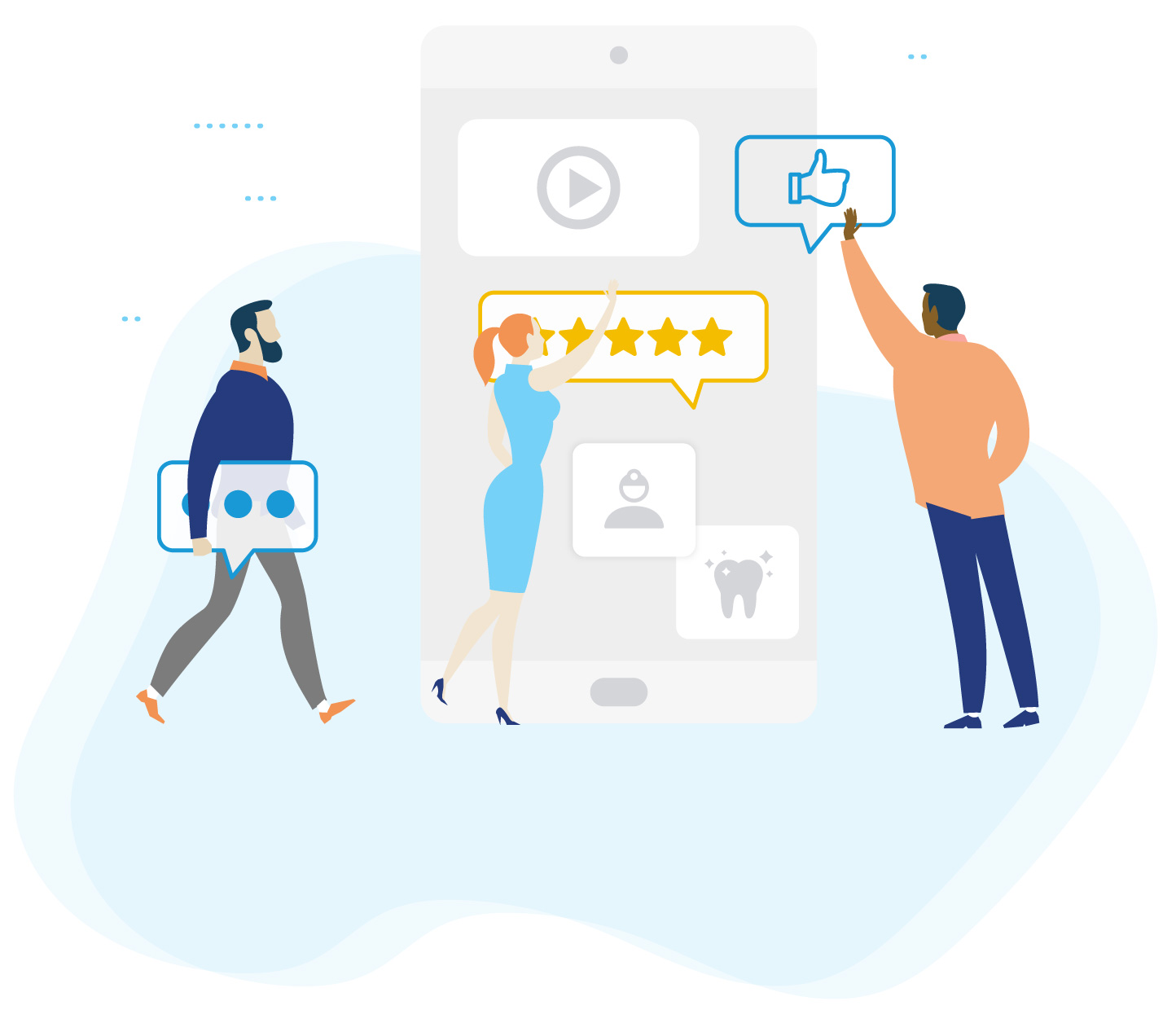 Illustration depicting online reviews and digital marketing for dentists from WEO Media