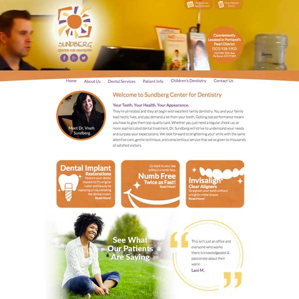 Sunberg Center for Dentistry Picture of Website Home Page - General Dentist Website Design by WEO Media