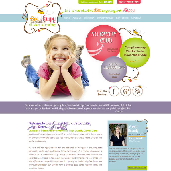 Bee Happy Children's Dentistry - Pediatric Dental Website Design by WEO Media