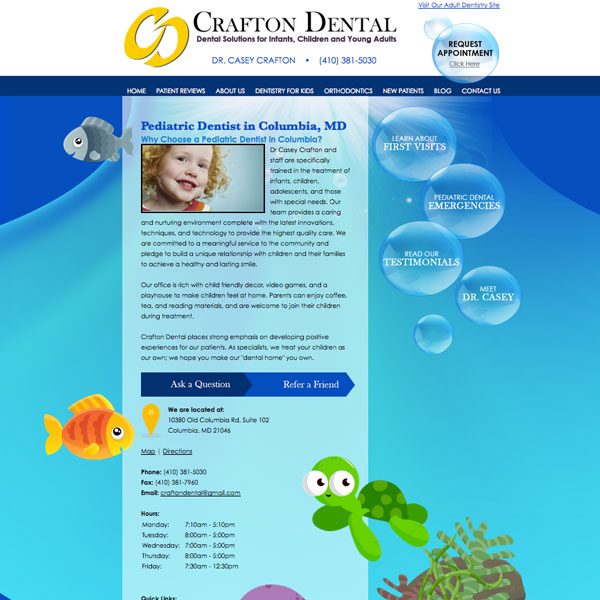 Crafton Dental - Pediatric Dental Website Design by WEO Media