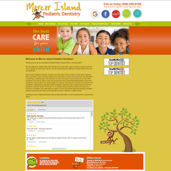 Mercer Island Pediatric Dentistry - Pediatric Dental Website Design by WEO Media