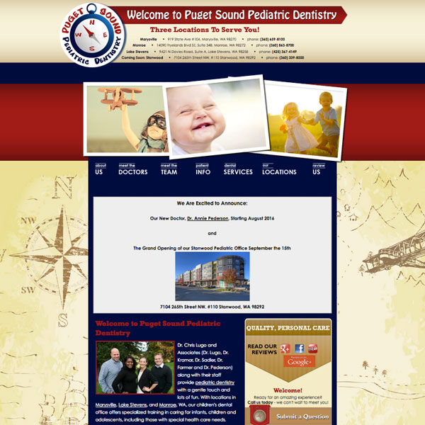 Puget Sound Pediatric Dentistry - Pediatric Dental Website Design by WEO Media