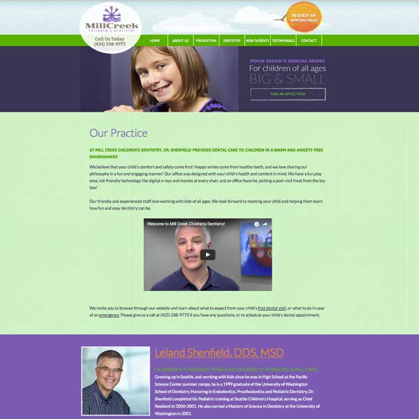 Mill Creek Children's Dentistry Picture of Website Home Page