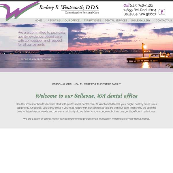 Rodney Wentworth, DDS Picture of Website Home Page