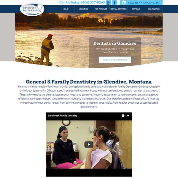 Sandcreek Family Dentistry Picture of Website Home Page