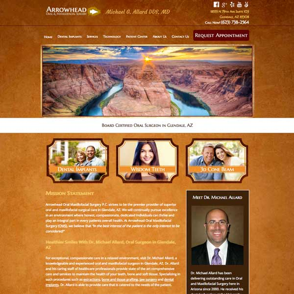 Arrowhead Oral Surgery - Oral Surgeon Website Design by WEO Media