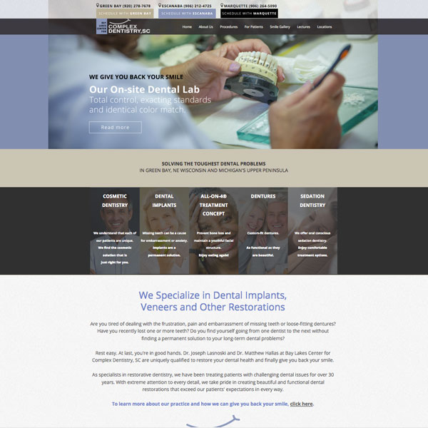 Bay Lakes Complex Dentistry Picture of Website Home Page