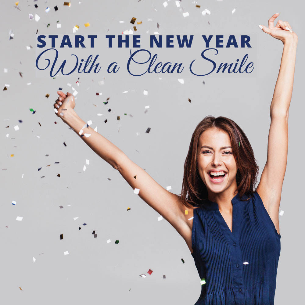 Social media post with smiling woman and quote Start the new year with a clean smile