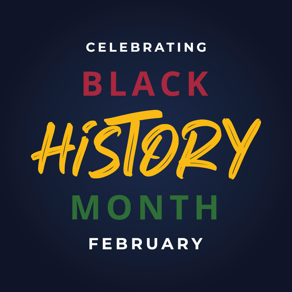 Social media post with quote Celebrating Black History Month February