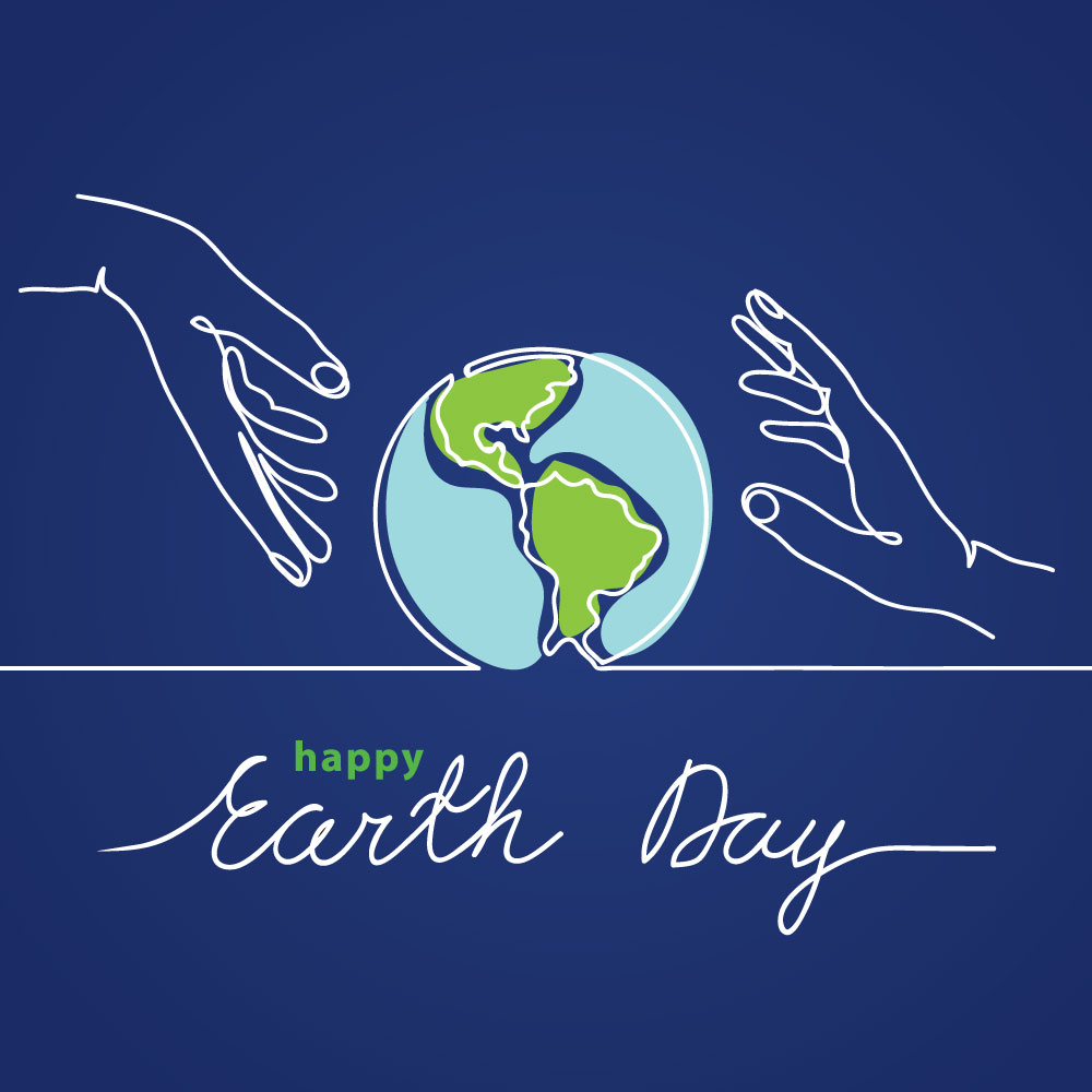 Social Media Post with Hands holding the earth with quote Happy Earth Day