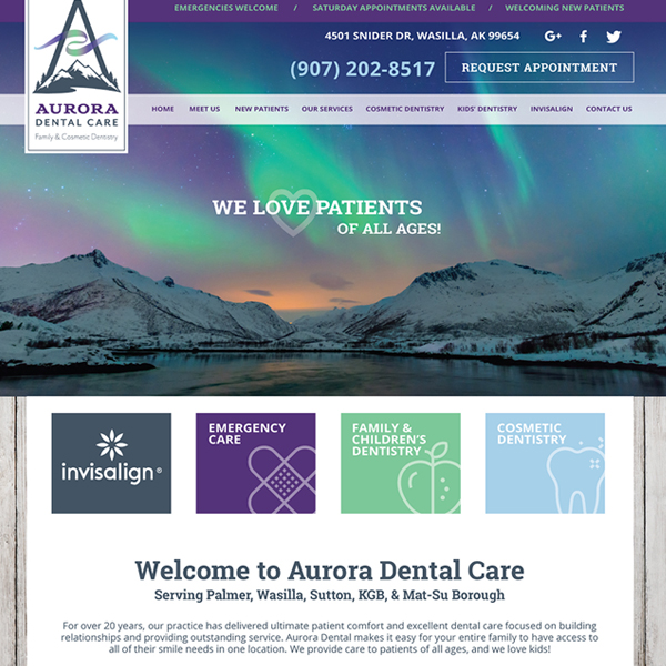 Aurora Dental - General Dentist Website Design by WEO Media