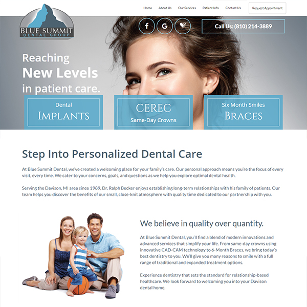 Blue Summit Dental - General Dentist Website Design by WEO Media