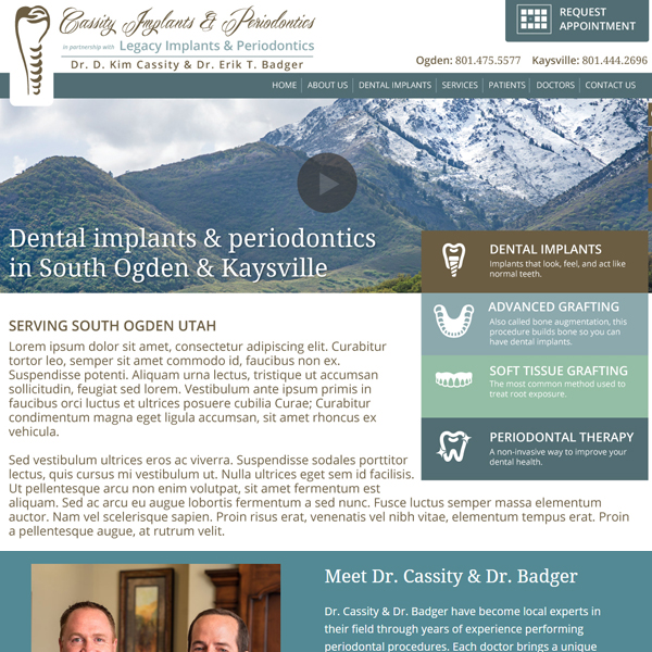 Cassity Implants - Periodontist Website Design by WEO Media