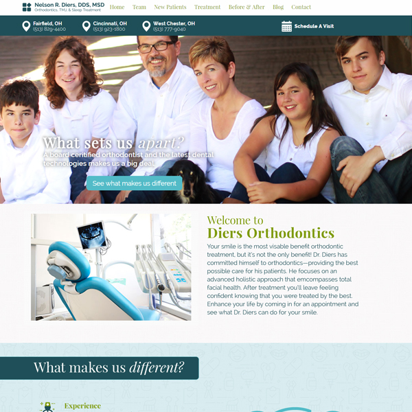 Diers Orthodontics - Orthodontic Website Design by WEO Media