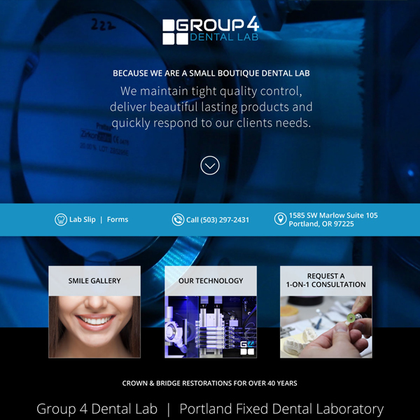 Group 4 Dental Lab - Websites for Dental Labs by WEO Media