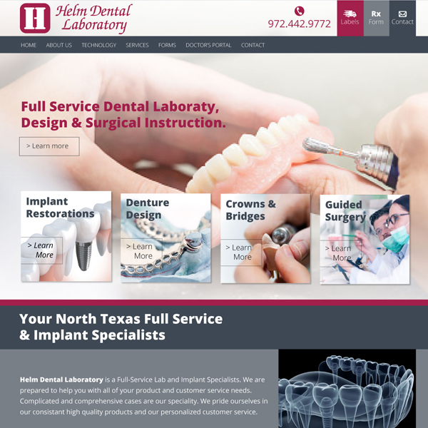 Helm Dental Labratory Picture of Website Home Page  - Websites for Dental Labs by WEO Media