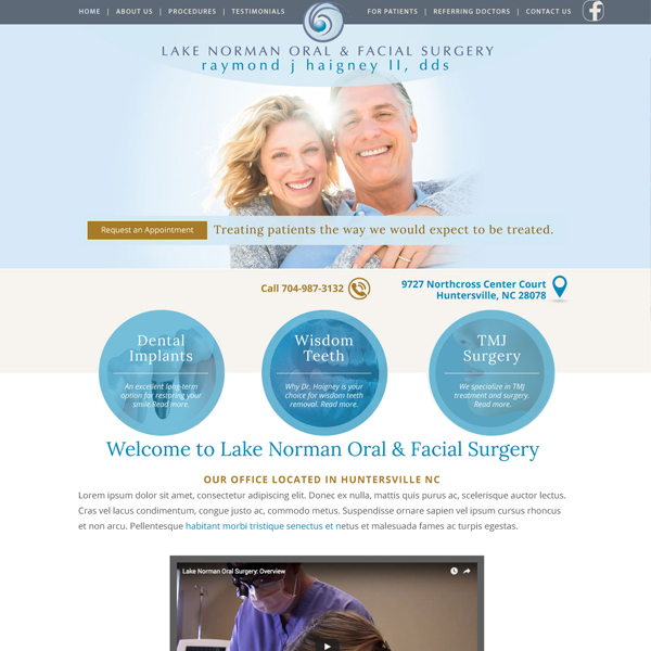 Lake Norman Oral & Facial Surgery - Oral Surgeon Website Design by WEO Media