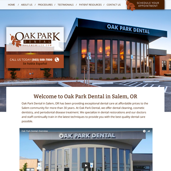 Oak Park Dental - General Dentist Website Design by WEO Media
