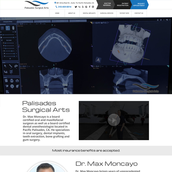 Palisades Surgical Arts - Oral Surgeon Website Design by WEO Media