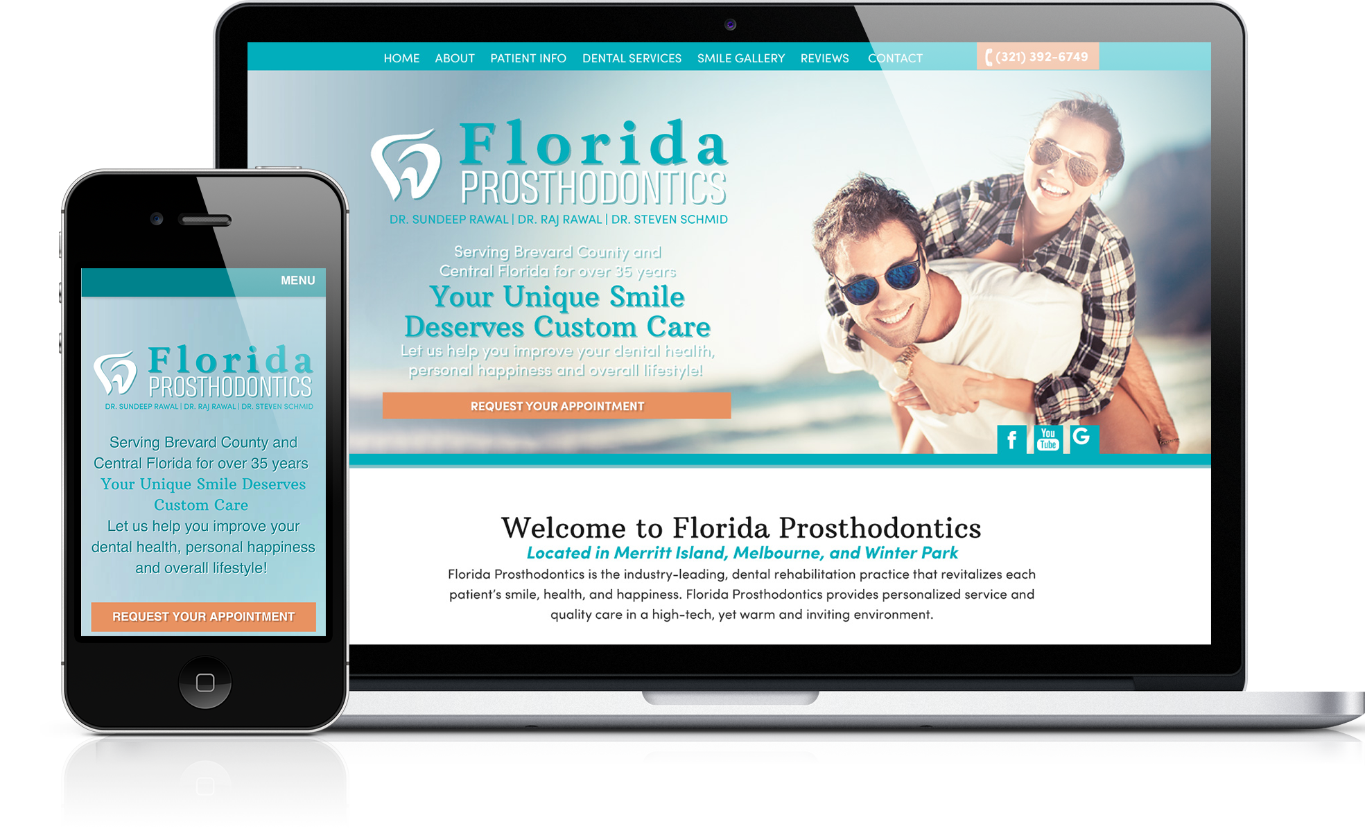 Photo of a prosthodontist's website on a laptop and phone