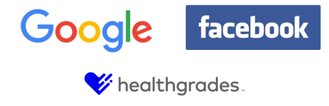 Google, Healthgrades, and Facebook Logos where WEO Media can help generate patient reviews