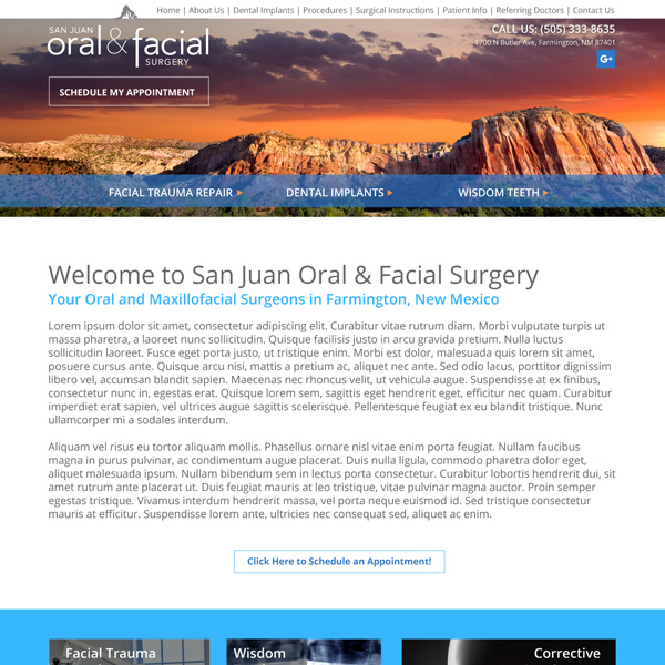 San Juan Oral & Facial Surgery - Oral Surgeon Website Design by WEO Media