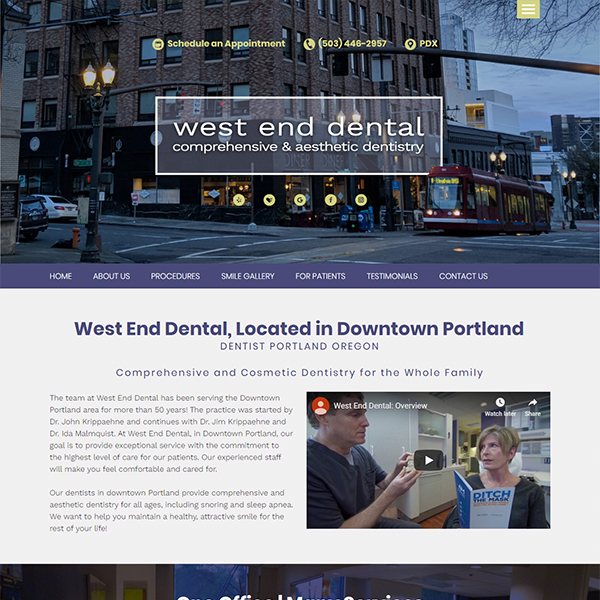 West End Dental - General Dentist Website Design by WEO Media